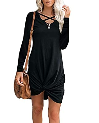 ♥Materail:RAYON:35%,POLYESTER:60%,SPANDEX:5%,Super soft,stretchy and lightweight,Classy high quality fabric,very soft to touch and wear. ♥Features:Criss cross neckline and front knot design,a fun way to set it apart from other tshirt style dresses;th...