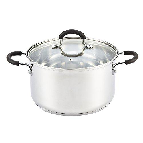 Cook N Home 02442 - Olla con tapa compatible con inducción, 16 cuartos de galón, metálico, Plateado, 4.73 l, 1
