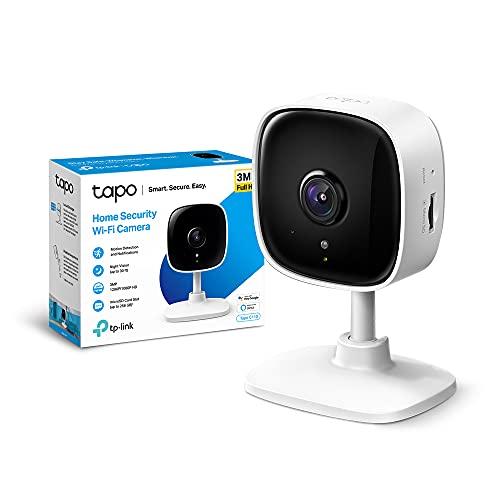TP-Link Telecamera Wi-Fi Interno, Videocamera sorveglianza 3MP, Visione Notturna, Audio Bidirezionale, Notifiche in tempo reale del sensore di movimento(Tapo C110)