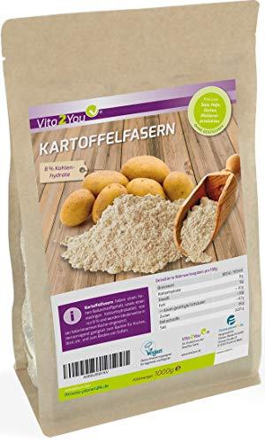 Kartoffelfasern 1000g - Nur 8% Kohlenhydrate - Kartoffelmehl - Glutenfrei - Zippbeutel - Premium Qualität aus Deutschland