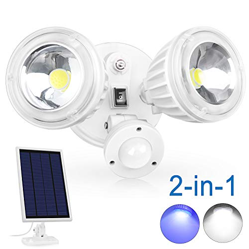 Upgraded 2 Modes Super Bright Solar Motion Sensor Light Outdoor, 1800LM 6500K IP65 Waterproof Security Light, Dual Head Flood Light with 10W COB LED for Deck Patio Porch Garage Driveway