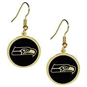 Officially licensed NFL product Feminine, gold toned earrings 1 inch gold toned charms with black team logos Hypoallergenic fishhook posts Beautiful addition to any Seattle Seahawks fan's jewelry collection