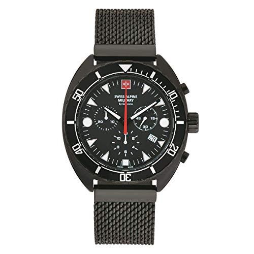 Swiss Alpine Military Herren Uhr Chronograph Analog Quarz 7066.9177SAM Edelstahl
