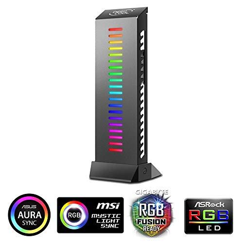 DEEPCOOL GH-01 ADD-RGB Supporto per Scheda Grafica Regolabile, Illuminazione RGB Indirizzabile, Supporto Fino a 5 kg, Cavi Nascosti, Controllo Tramite Piastra di Base con Connettore a 5 pin 3v