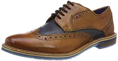 bugatti 311259043535, Zapatos de Cordones Derby Hombre, Marrón (Cognac/Dark Blue 6341), 41 EU