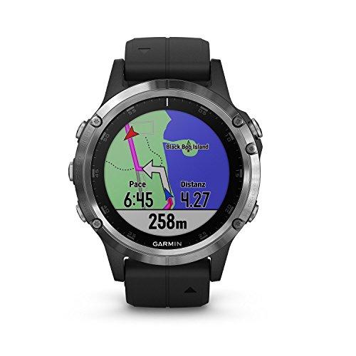 Garmin fenix 5 Plus Silber mit schwarzem Armband Multisport-Smartwatch Europakarte, Musikplayer, kontaktloses Bezahlen