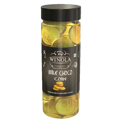 Winola Milk Choco Coin- Gold Chocolate Coins - 50 pcs jar (175 g)