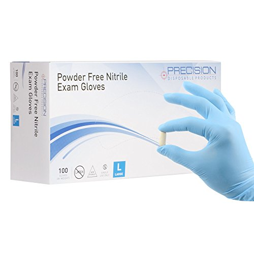 Nitrile Exam Gloves by Precision Disposables | Blue 4 mil Thickness, Powder-Free, Non-Latex, Fingertip-Textured, Medical Grade, Food Safe Examination Gloves (100, Large)