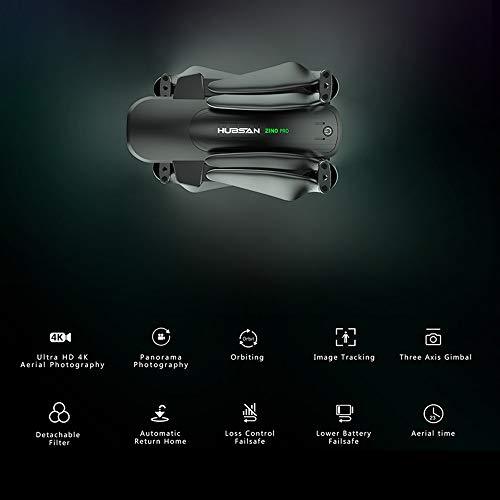 Drone GPS Hubsan Zino Pro con videocamera per adulti Drone 4K UHD 5G WiFi 4km FPV Drone 3 assi cardanico senza spazzole RC Quadricottero Filtro staccabile Tracciamento immagine con borsa 2 Batteria