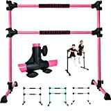 PreGymnastic 4 Ft Adjustable & Portable Double Freestanding Ballet Barre for Dancing Stretching, Bonus Shining Sticker for Free