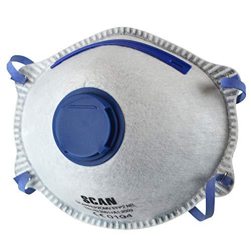 Scan PPEP2OMV - Mascherina antiodori di protezione, sagomata, usa e getta, con valvola, FFP2, 3 pezzi