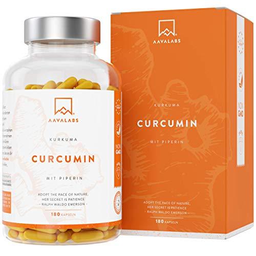 AAVALABS® Kurkuma Kapseln Hochdosiert - [ 4230 mg ] 95% Curcumin Extrakt Komplex, Curcuma Pulver und Piperin pro Tagesdosis - 180 Kapseln - Vegan & Laborgeprüft - Hergestellt in der EU.