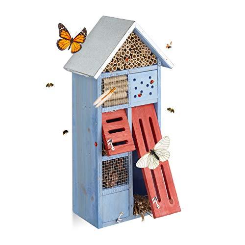 Relaxdays 10020725 Hôtel à insectes avec toit en métal balcon terrasse jardin abeille coccinelle papillon HxlxP: 48,5 x 24 x 14 cm refuge abri,...