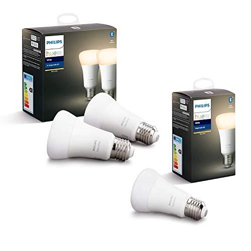 Philips Hue White Pack de 3 bombillas LED inteligentes E27, luz blanca cálida, compatible con Bluetooth y Zigbee, funciona con Alexa y Google Home