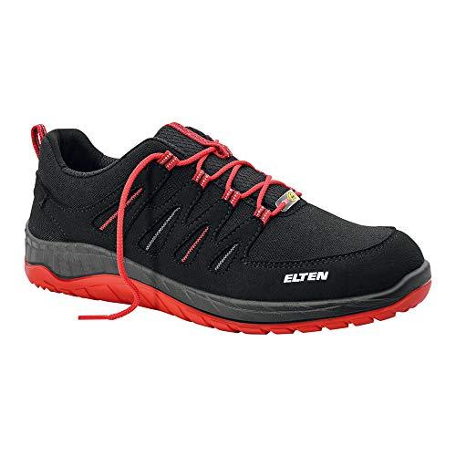 ELTEN WELLMAXX 729561 Maddox Black Low ESD S3 Herren Sicherheitsschuhe S3,Arbeits-und Sicherheitsschuhe,EN ISO 20345 S3 SRC,Stahlkappe,Black-red,EU 43