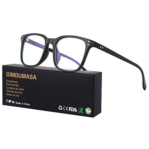Gimdumasa Blaulichtfilter Brille Computerbrille Pc Gaming Bluelight Filter Uv Blueblocker Glasses Anti Damen Herren Ohne Stärke Entspiegelt (Schwarz)