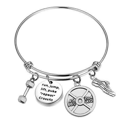 ENSIANTH Crossfit Bracelet Fitness Gift Bodybuilding Gift Crossfit Gift Trainer Appreciation Gift Dumbbell Pendant (Crossfit Bracelet)