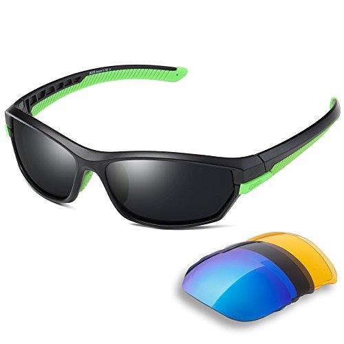 DUCO Polarisiert Sports Herren Sonnenbrillen für Ski Driving Golf Laufen Radfahren Tr90 Superlight Rahmen mit 3 Wechselgläsern 6216 (Grün)