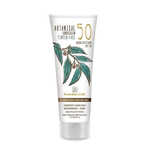 NEW Australian Gold Botanical Sunscreen Tinted Face BB Cream SPF 50, 3 Ounce | Rich/Deep | Broad Spectrum | Water Resistant | Vegan | Antioxidant Rich | A70887