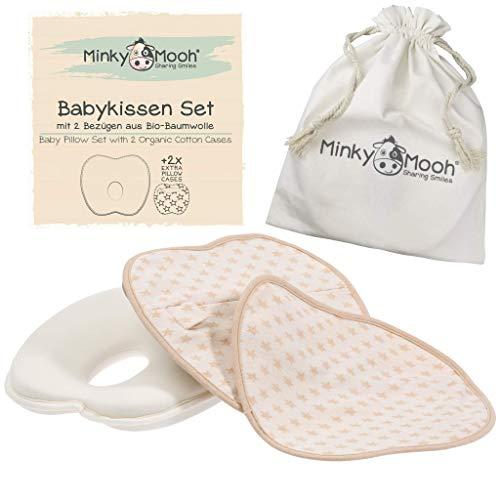 Babykissen gegen Plattkopf aus BIO-BAUMWOLLE von Minky Mooh - Inkl. 2 Bezgen   Ergonomisches Memory Foam Lagerungskissen fr natrliche Kopfform und Vermeidung von Kopfverformung (Baby Kissen)