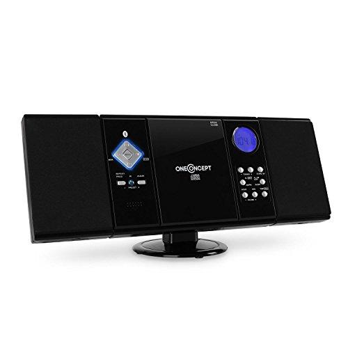 OneConcept V-12-BT - Chaîne stéréo, Chaîne compacte, Microchaîne, Interface Bluetooth, Lecteur CD-MP3, Port USB, Tuner Radio AM FM, 20 plages programmables, AUX-in, Télécommande, Noir