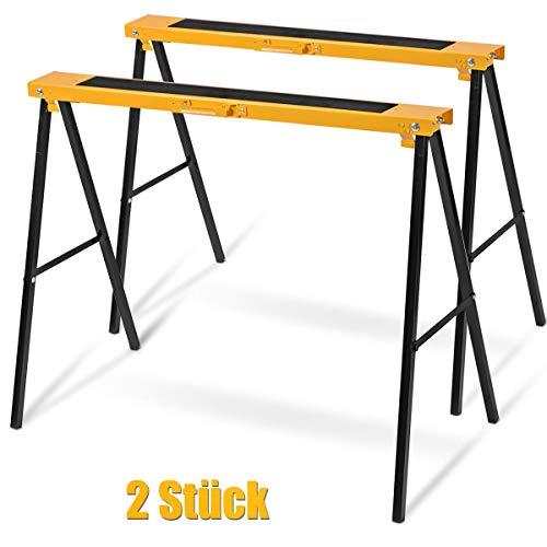 Goplus 2 x Gerüstbock, Klappbock Set, Stützbock Sägehilfe, Arbeitsbock Gelb, Unterstellbock bis 275 kg Belastbar