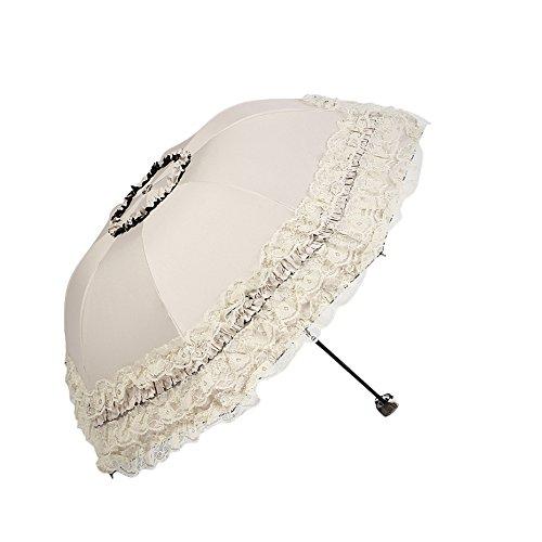 Monbedos Compact Regenschirm Spitze Sonnenschirm der Dame Outdoor UV Schutz Regenschirm Reise Regenschirm Beige