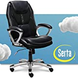 Serta Executive Office Padded Arms Adjustable Ergonomic Gaming Desk Chair with Lumbar Support, Faux Leather and Mesh, Black