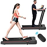 Goplus 3-in-1 Treadmill with Desk, 2.25HP Folding Electric Treadmills, Large LCD Display,Remote Control, Bluetooth Speakers, Walking Jogging Machine for Home/Office Use (Black)
