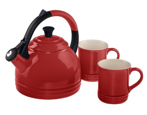 Le Creuset Enamel on Steel Kettle and Mug Gift Set, Cerise...