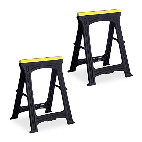 Relaxdays Klappbock, 2er Set, 170 kg Belastung, stabil, Arbeitshöhe 79 cm, platzsparend, Kunststoff, Gerüstbock, schwarz