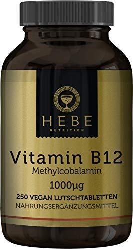 Vitamin B12 Methylcobalamin 1000 μg, hochdosiert, 250 Lutschtabletten, 16-Monats-Versorgung, vegan, hoch bioverfügbar, Premium-Qualität von Hebe Nutrition