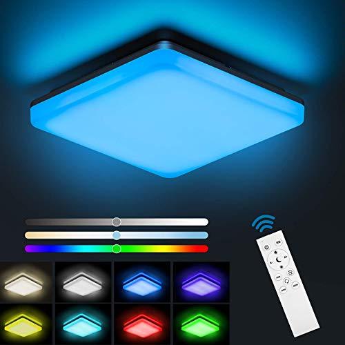 NIXIUKOL 24W LED Deckenleuchte Dimmbar RGB, Deckenlampe mit Fernbedienung, Lichtfarbe und Helligkeit einstellbar, IP54 Wasserfeste Wohnzimmerlampe Schlafzimmerlampe Kinderzimmerlampe Badlamp 28cm