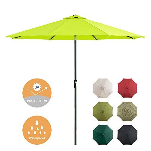 Tempera 9 Ft Patio Umbrella Outdoor Garden Table Umbrella with Push Button Tilt and Crank, 8 Steel Ribs, Apple Green