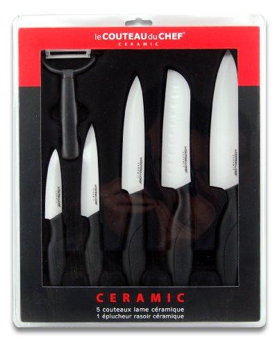 Le Couteau Du Chef 447980 - Cofanetto da 6 coltelli con Lama in Ceramica, 30 x 37 x 3,4 cm, Colore Nero