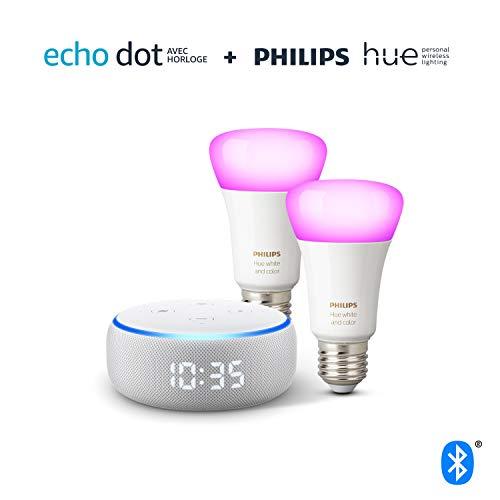 412CkYP+9KL Notre bon plan !  Echo Dot (3ème génération), Enceinte connectée avec horloge et Alexa + Philips Hue White & Color Pack de 2 ampoules...