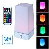 WRalwaysLX LED Square Night Light with Remote Control ,color changing Table Lamp Wireless PIR Motion Sensor,Sensitive Portable Battery Lamp for Kids Room, Bedroom,Kitchen