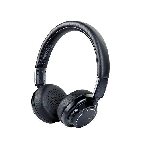 AUKEY Cuffie Bluetooth, Auricolari Wireless con Basso Profondo, Tempo d'Uso Fino a 18 Ore, Microfono Incorporato e l'Ingresso Audio 3,5mm, Cuffie Stereo per Cellulari, Tablet e PC