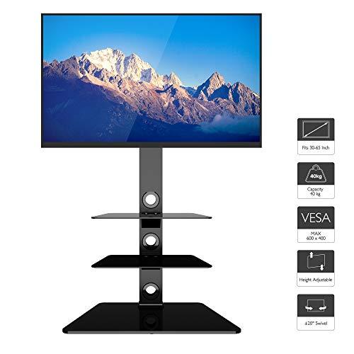 BONTEC Supporto TV da Pavimento per Schermo 30-65 pollici LCD/LED/Plasma, Staffa Girevole Porta TV...