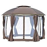 Backyard & Deck Cabana W/Netting Sidewalls & Steel Frame YJYDD (Color : Brown)