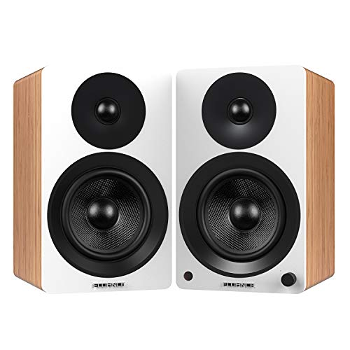 """Fluance Ai60 High Performance Powered Two-Way 6.5"""" 2.0 Bookshelf Speakers with 100W Class D Amplifier for Turntable, PC, HDTV & Bluetooth aptX Wireless Music Streaming (Lucky Bamboo)"""