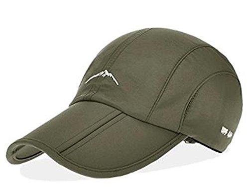 折畳み 帽子 シンプル キャップ UVカット アウトドア 登山 撥水 加工 男女 兼用 (グリーン)