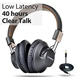 Avantree 40 Stunden APTX Low Latency Wireless Bluetooth Over-Ear Faltbar Fernseher Kopfhörer Headset mit Mikrofon, Fast Audio für TV, PC, Wired Drahtlose Funkkopfhörer, DUAL Mode - Audition Pro