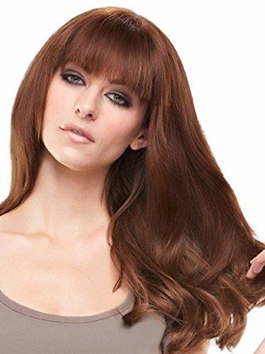 EasiFringe Clip In Bangs Color 8RN Medium Gold Brown - Easihair Renau Wigs Remy Human Hair Monofilament Base Hairpiece 1 pc Face Framing Fringe 5