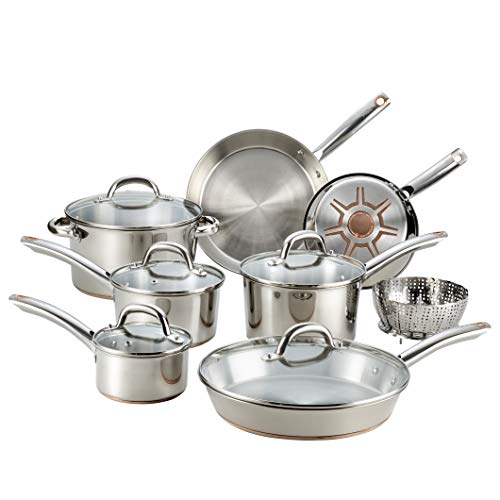 Product Image 1: T-fal C836SD Ultimate Stainless Steel Copper Bottom 13 PC Cookware Set, Piece, Silver