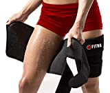 Fitru Premium Thigh Trimmers for Men & Women | Increase Sweating & Circulation | Like A Body Wrap Sauna Waist Trainer for Your Legs (Black, M: 31' X 8')