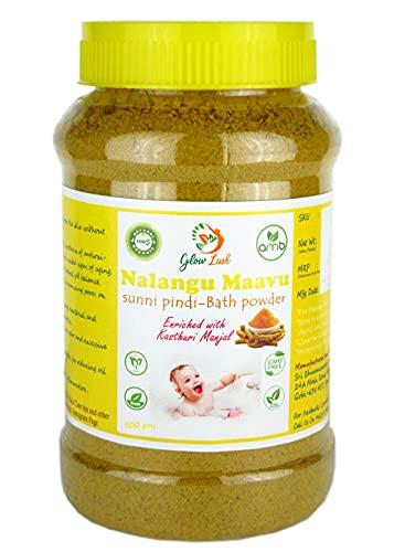 Glow Lush 100% Natural Nalangu Maavu Herbal Bath Powder For Women  Sunni Pindi Bath Powder For Women (500g)