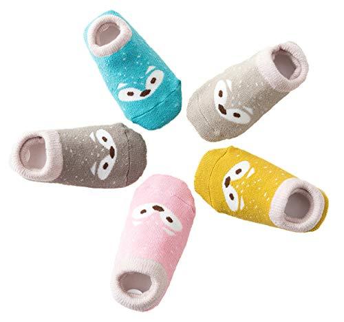 Calzini per Bambini e Neonati, Calzini Contton Antiscivolo, 5 Paia Sveglio Animale Volpe Caldo Confortevole Calzini