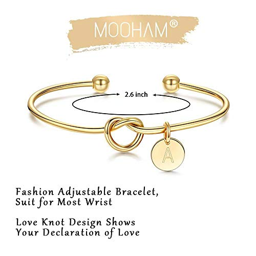 M MOOHAM Bridesmaid Proposal Gifts, Tie The Love Knot Bridesmaid Bracelet with 26 Initials Bridesmaids Gifts for Wedding with Box, Cards