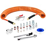 FYPower 1/4 inch x 25 ft Recoil Poly Air Hose Kit, 20 Pieces Air Compressor Accessories Set, 1/4' NPT Quick Connect Air Fittings, Blow Gun, Chuck, Safety and Tapered Nozzles, Couplings, Orange PU Hose